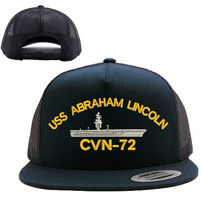 USS ABRAHAM LINCOLN CVN-72 MESH TRUCKER SNAP CLOSURE CAP HAT BLACK