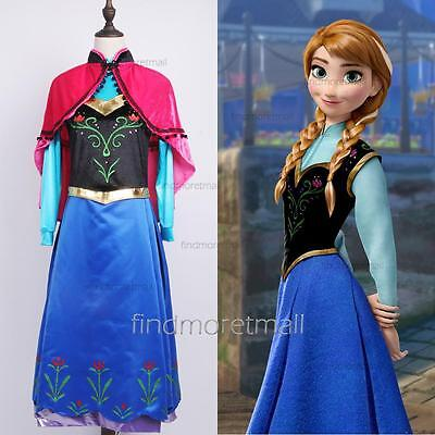 Adult Anna Dress with Cape Women's Party Cosplay Halloween Stage - Halloween Costume With Cape