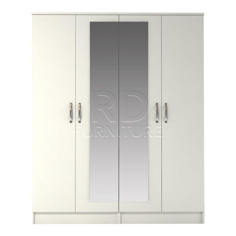 classy 4 door mirrored robe white