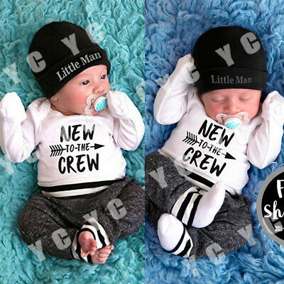 US New Infant Newborn Baby Boy Romper+Pants Outfit Clothes Bodysuit Playsuit
