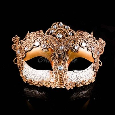 Venetian Goddess Brocade Lace Masquerade Mask with Rhinestones - Gold
