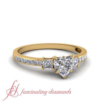 1.60 Ct Heart Shaped 3 Stone Diamond Timeless Ring With Princess Accents GIA