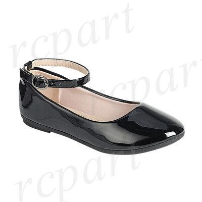 - New girl's kids back zipper black synthetic patent flower girl dress shoes