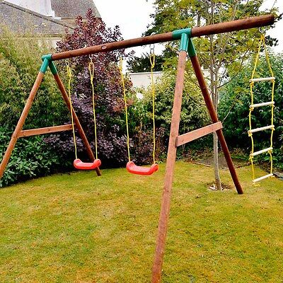Swings Set - Little Tikes Riga Wooden Double Swing with Ladder - RRP £320