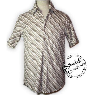Stretch-baumwolle Hemd (E-TYPE Vintage Retro Stretch Baumwolle Hemd Beige Taupe Pflegeleicht Gr.M 48/50)