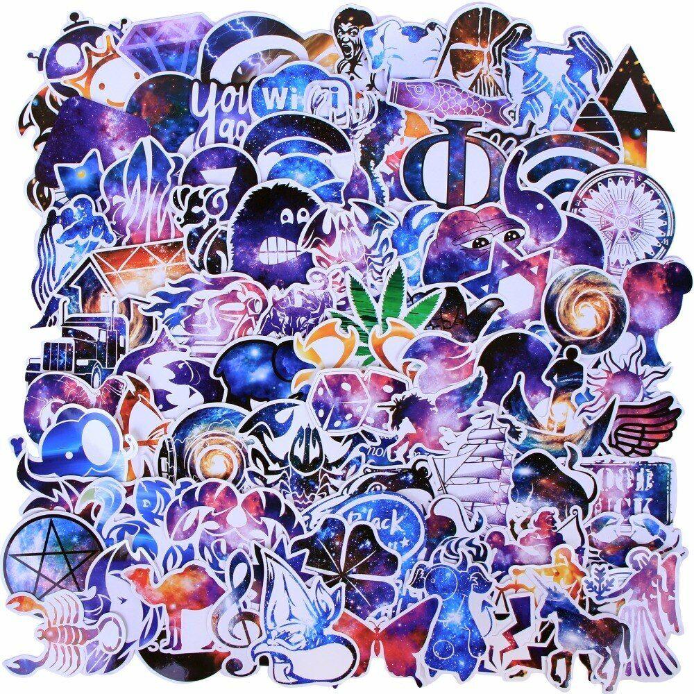 Galaxy Print Star Theme Vinyl PVC Sticker Pack, Lot Bomb - S