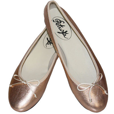 Rose-Gold Ballerina Schuhe - Rosa-Rosé-Gold-Metallic Ballerinas Slipper Leder