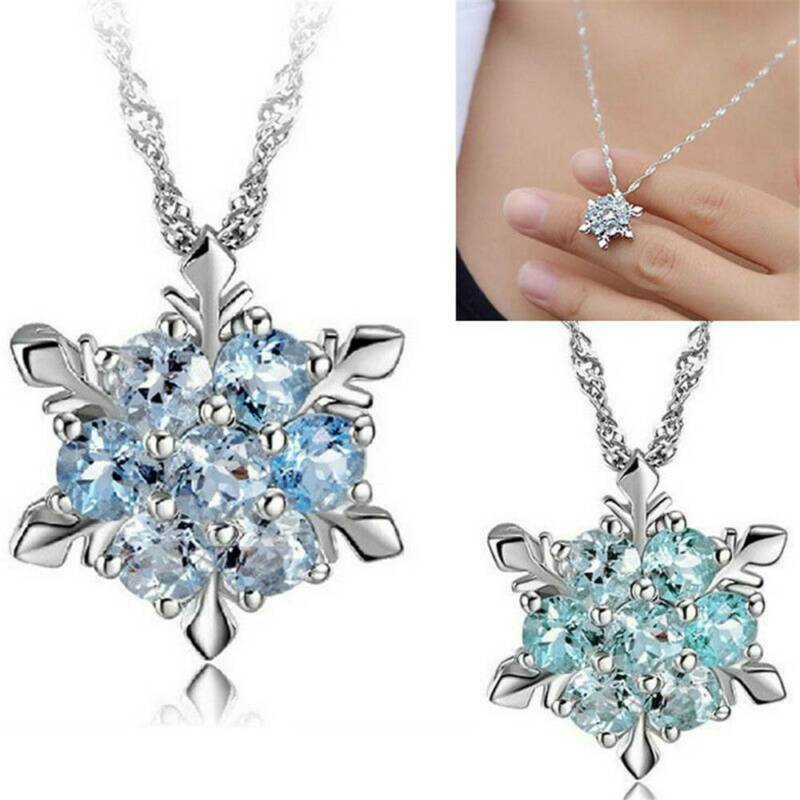 925 Silver Snowflake Necklace Women's Sapphire Flower Crysta