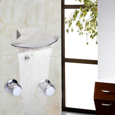 Chrome Wide Spout Bathroom Wall Mount Brass 2 Handles Tap Mixer Waterfall Faucet