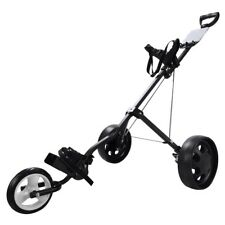 New Foldable 3 Wheel Push Pull Golf Cart Folding Trolley Three Wheels Swivel