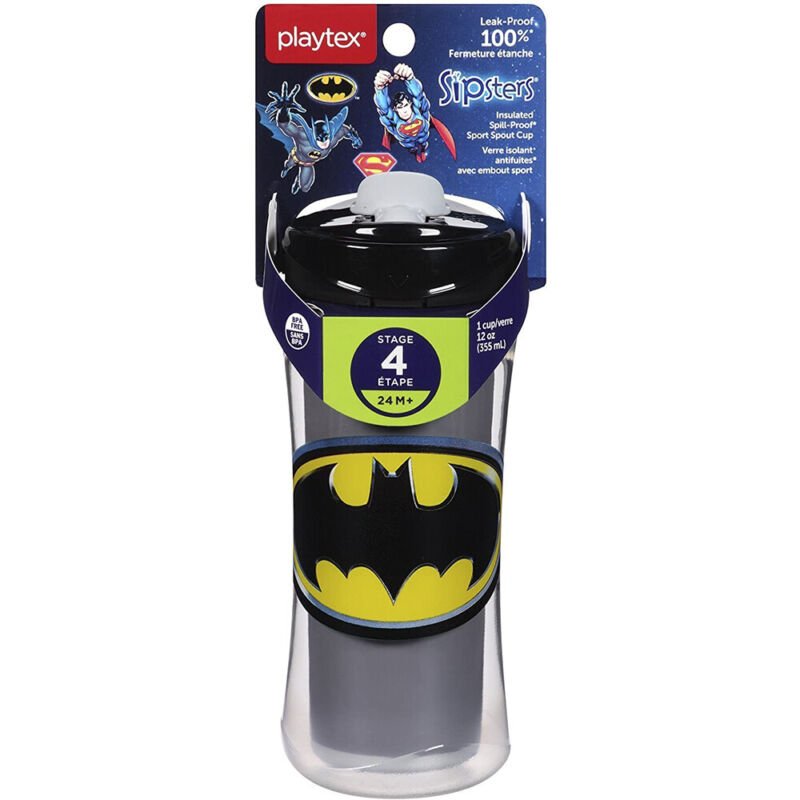 Playtex Baby Sipsters Spill-Proof DC Superfriends Batman Kids Sport Spout Cup, S