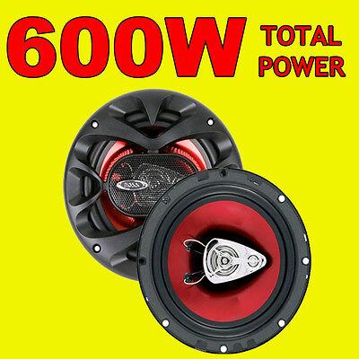 BOSS 600W TOTAL 3WAY 6.5 INCH 16.5cm CAR DOOR/SHELF COAXIAL SPEAKERS RED PAIR Boss Car Audio System