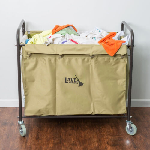 Laundry Cart / Trash Cart, 12 Bushel Metal and Canvas Cart with Handles