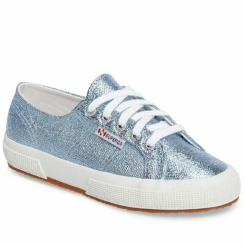 Superga 2750 Metallic Sky Blue Platform Sneakers