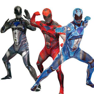 NEU Power Ranger Morphsuit In 3 Farben Unisex Karneval Festival Gruppen Kostüm