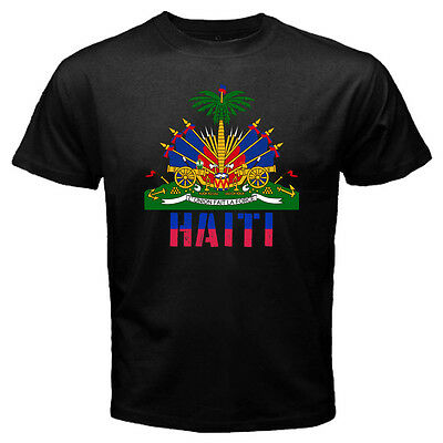 New Haiti Haitian Coat of Arms Flag Black T-shirt Size S-3XL Free Shipping
