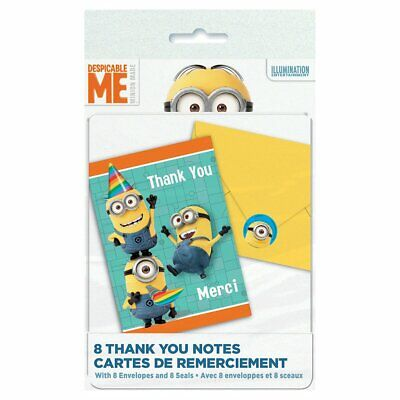 Despicable Me Thank You (Despicable Me Minions Cartoon Movie Cute Kids Birthday Party Thank You)