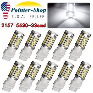 10x White 3157 3156 5730 33-SMD LED Daytime Running Tail Brake Stop Light Bulbs