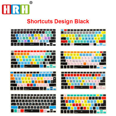 Functional Shortcut Printed Keyboard Cover Skin for MacBook Air Pro Retina 13 15