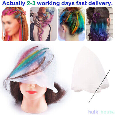 Reusable Hair Hairdressing Tip Colouring Frosting Dye Cap With Hook Highlighting