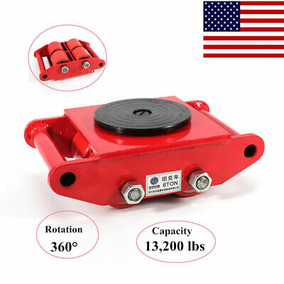 6t Heavy Duty Transport Machine Dolly Skate Roller Machinery Mover Rotation Cap