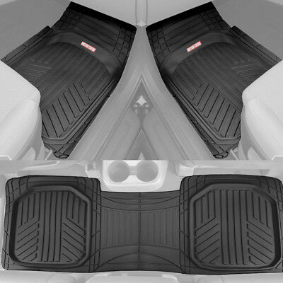 Waterproof TriFlex Rubber Floor Mats for Car Van SUVs Truck w Rear Liner Black