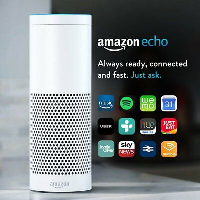 Amazon Echo Smart Speaker with Alexa Voice Recogn. & Control (UK stock) White !!