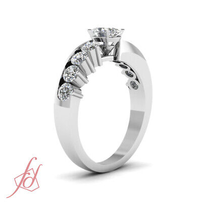 1.20 Ct Oval Shaped And Round Cut Diamond Unique Engagement Rings For Women GIA 2