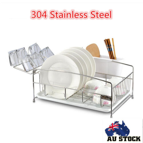 New Stainless Steel Plate Tray Dish Cutlery Cup Drainer