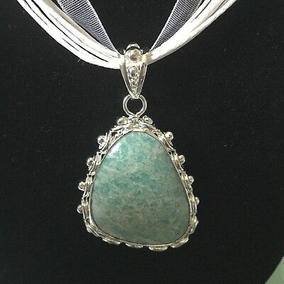 Larimar 925 Silver Pendant with White18 inch Satin Cord Necklace