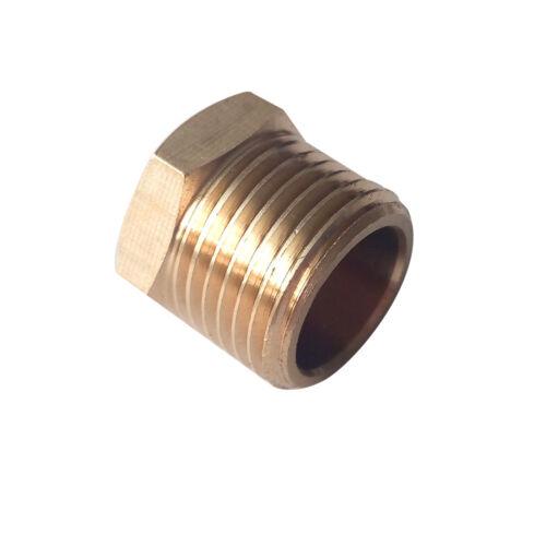 "10pcs Brass Hex Head Plug Pipe Fitting 1/4"" MIP (Male NPT ) Air Fuel Oil Water"
