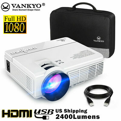 VANKYO LEISURE 3 Full HD 1080p Mini Projector 2400 Lux HDMI USB AV Home -White