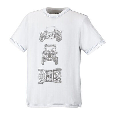 Polaris Youth Boys RZR CAD Short Sleeve Tee Crew Neck Cotton T-Shirt White Large