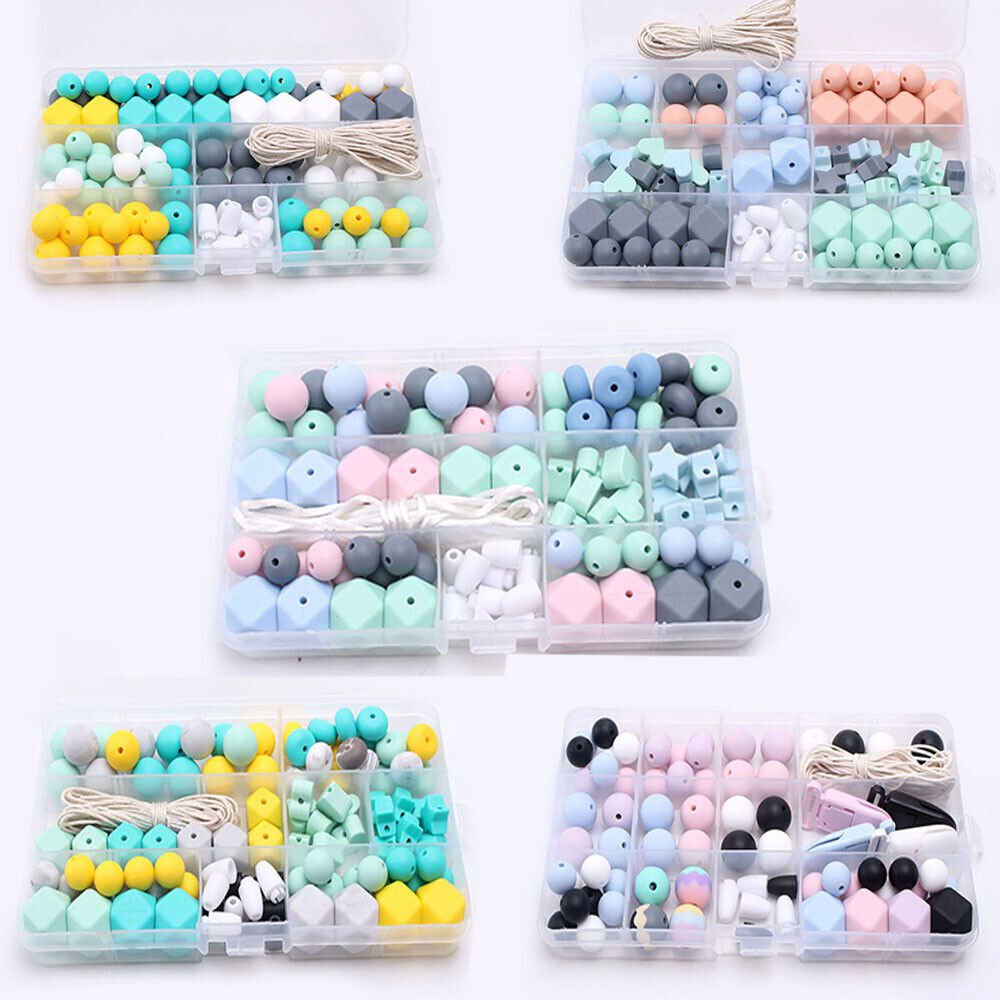 Turquoise Teether Ring Make Your Own Teether Toys DIY Bulk Set Pacifier Chain Silicone Beads Kit Teething Wooden Beads for DIY Dummy Clips Baby Bracelet Necklace