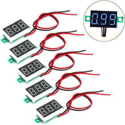 5x Mini Blue Dc 0-30v Led Panel Voltmeter 3 Digital Display Voltage Meter