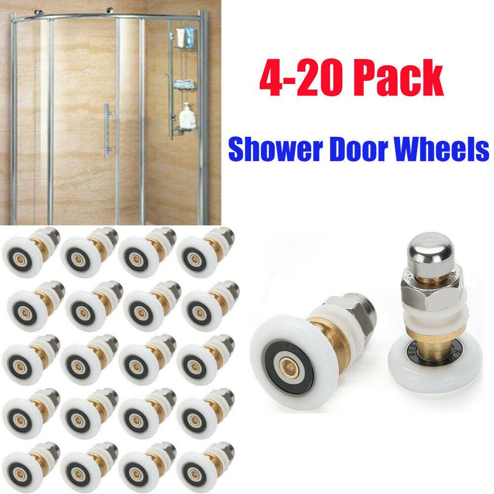 4Pcs Twin Bottom Top Shower Door Rollers Pulleys Wheels Runner Slider 20mm/&