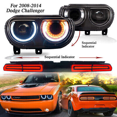 Set 3 PCS Headlight &Tail Light / Front & Rear Lamp For 08-14 Dodge