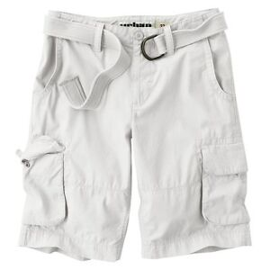 Urban Pipeline Young Mens Belted Cargo Longer Length Flat Front Shorts NEW $46