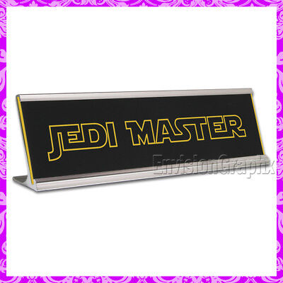 Jedi Master 2x8 Laser Engraved Black Yellow Desk Name Plate Funny Gag Gift