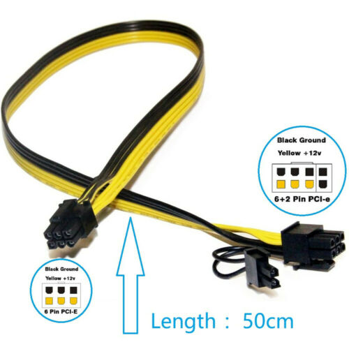 1PC 6pin male to 8pin(6+2) male cable 18AWG GPU Mining Ethereum ZCASH ZEC 50CM Computer Cables & Connectors
