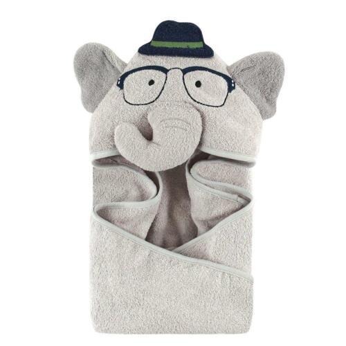 Hudson Baby Boys Animal Face Hooded Towel - Elephant