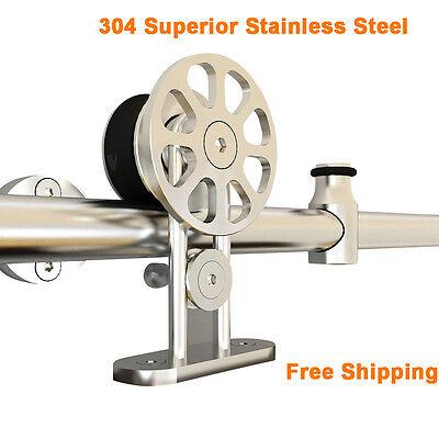 5/6/8/12/10FT Stainless Steel Sliding Barn Door Hardware Tube Set Brushed Nickel ()