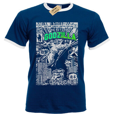 GODZILLA Mens T Shirt S-3XL Ringer Retro Comic dinosaur gift