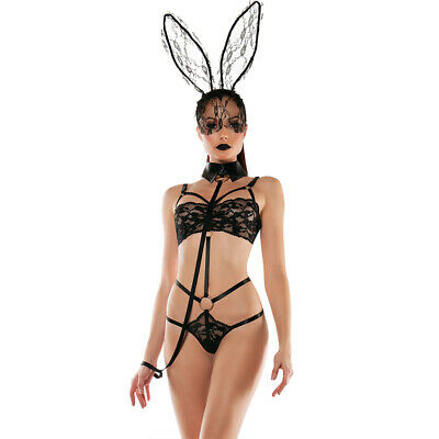 Women Bunny Costumes (Adult Women Sexy Bunny Costume Roleplay Lingerie Set with Lace Rabbit)