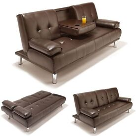Brand New Comfy 3 Seater Leather Cinema Style Sofa Bed with Cupholder in Black & Brown Color
