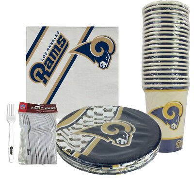 New 80pc Set NFL Los Angeles Rams Paper Plates Cups Forks Napkins Party Supplies](Party Supplies Los Angeles)