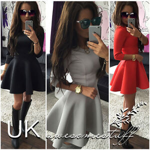 UK-Women-3-4-Sleeve-Skirt-Dress-Ladies-Evening-Party-Mini-Skater-Dress-Size-6-14