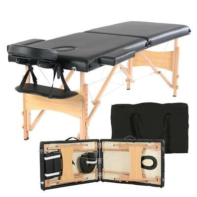 """82"""" Portable Massage Table Bed Spa Facial Tattoo w/Free Carry Case 2-Fold Black"""