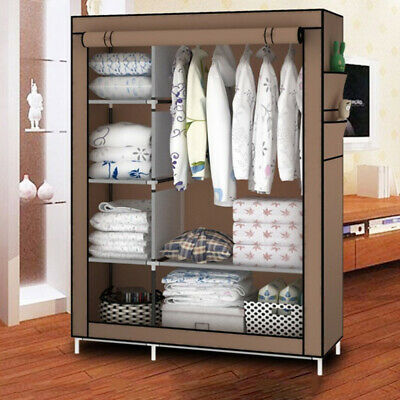 67'' Canvas Bedroom Wardrobe Clothes Storage Pop Up Closet Shelving Unit Shoes Canvas Closet Organizers