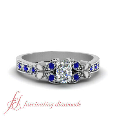 1 Carat Cushion Cut Diamond And Sapphire Milgrain Pave Engagement Ring For Women